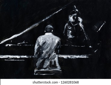 Pianist and contrabassist. Jazz band concert. Piano player and contrabass player perform on stage. Stylish black and white abstract painting. Back and side view. Musicians with instruments.