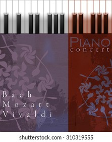 Piano concert digital poster illustration