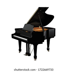 Piano, Grand Piano Percussion Music Instrument Isolated on White background 3D rendering