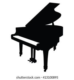 Piano icon on the white background