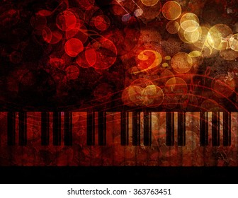 Piano Keyboard with Bokeh Musical Notes and Red Grunge Texture Background Illustration