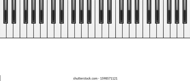 piano keyboard close up on white background