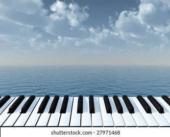 piano keyboard and water landscape - 3d illustration