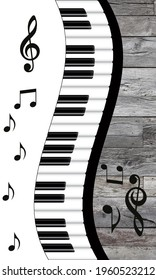 Piano Keyboards Wavy Border. Musical key signs. Music notes icons on grey wooden background .