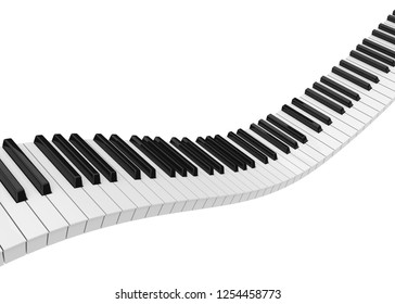 Piano Keys Isolated. 3D rendering