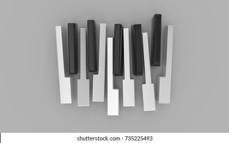 Piano keys isolated on the gray background. 3D art render illustration.