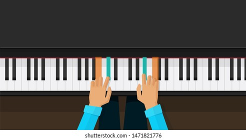 Piano keys with person hands learning play chords illustration, flat cartoon piano keyboard lesson app for studying top view image