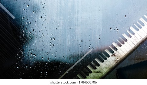 Piano music concept abstract background. 3d illustration.Piano behind the window with water drops on a rainy day.Relax music for travel road.