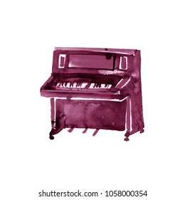 Piano. Musical instruments. Isolated on white background. Watercolor illustration. Maroon, burgundy, claret, vinous, purple