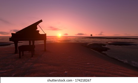 Piano on the beach in the sunset.