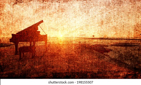 Piano on the beach in the sunset for canvas background