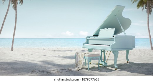 Piano on the beach.Concept for summer music.3d rendering