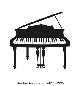 Piano on the white background.