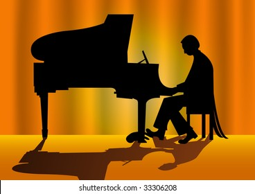 Piano player silhouette on stage.
