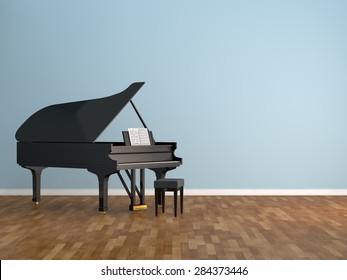 piano room Interior 3d rendering image