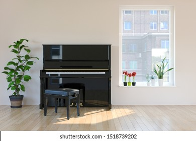 piano room interior in scandinavian style. Mock-up interior. 3d Illustration.