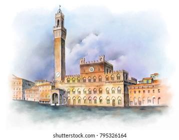 Piazza del Campo in Siena, Italy. Digital watercolor created by me, Andrea Danti.