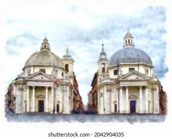 """Piazza del Popolo with """"twin"""" churches of Santa Maria in Montesanto and Santa Maria dei Miracoli Piazza del Popolo. Rome, Italy. Architecture and landmark illustration. Watercolor drawing picture"""
