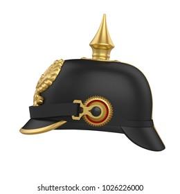 Pickelhaube Spiked Helmet Isolated. 3D rendering
