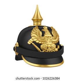 Pickelhaube Spiked Helmet Isolated. 3D rendering