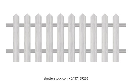Picket fence, wooden textured, rounded edges. stock illustration.