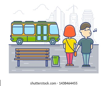Pickpocket steals money cash from bag, Robbery at the bus stop. illustration.