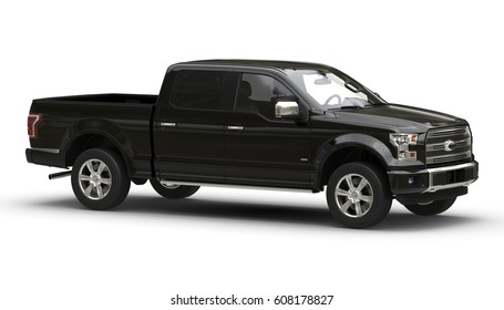 Pickup black 3d car illustration isolated on white