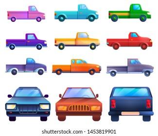 Pickup icons set. Cartoon set of pickup icons for web design