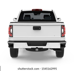 Pickup Truck Isolated (back view). 3D rendering