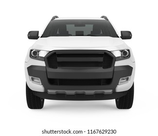 Pickup Truck Isolated (front view). 3D rendering