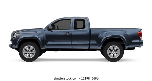 Pickup Truck Isolated (side view). 3D rendering