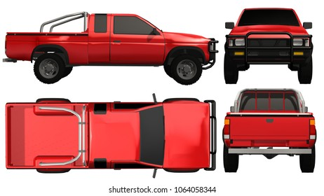 Pickup Truck Templat isolated on white background - 3d render