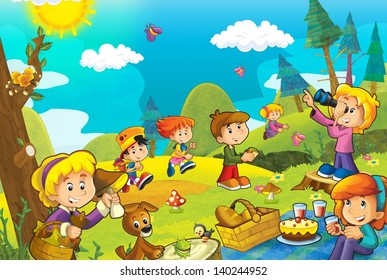 Picnic in the woods - illustration for the children