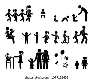 pictogram children and parents various poses and movements, icons care of children, family simple symbols, isolated human silhouettes