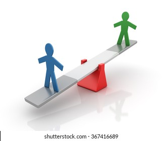 Pictogram People Balancing on a Seesaw - Balance Concept - High Quality 3D Render