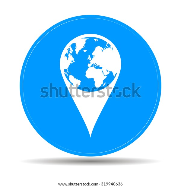 Pictograph of globe. Map pointer. Illustration