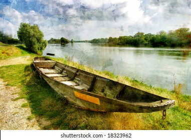 pictorial autumn scene with old boat - artwork in painting style