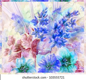 Picture, abstract flowers. Hand draw water colour on a paper