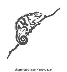 picture of black and white chameleon lizard in tribal style on white background