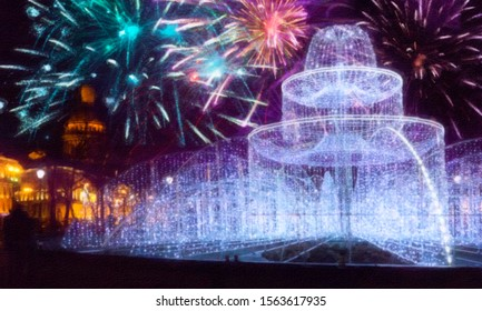 picture, drawing, mixed media -fountain from burning light bulbs in front of St. Isaac Cathedral on New Year's Eve. St. Petersburg. Russia
