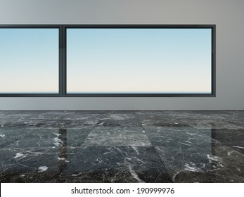 Picture of empty room interior with marble floor