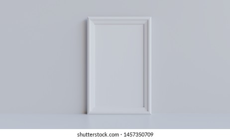 Picture frame mockup 3d render - White picture frame against a grey wall.