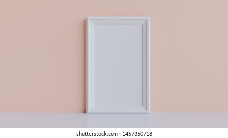 Picture frame mockup 3d render - White picture frame against a pink wall.