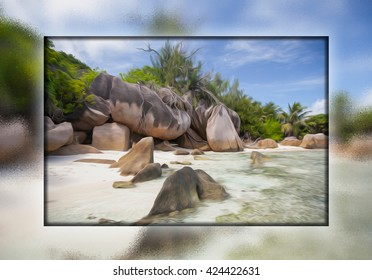 picture in frame, The most beautiful beach of Seychelles - Anse Source D'Argent , glass painting