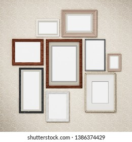 Picture frames arranged on the wall. 3D dimensional.