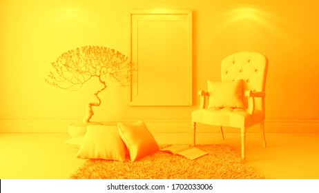 picture frames with bergere and wall decor, background, template design 3D rendering