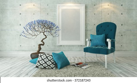 picture frames with blue bergere and concrete wall decor, background, template design 3d rendering by sedat seven