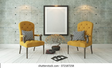picture frames with double yellow bergere and concrete wall decor, background, template design 3d rendering by sedat seven