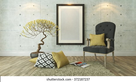 picture frames with gray bergere and yellow pillow decor, background, template design 3d rendering by sedat seven