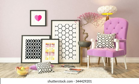 picture frames with pink bergere and wooden parquet decor, background, template design 3D rendering